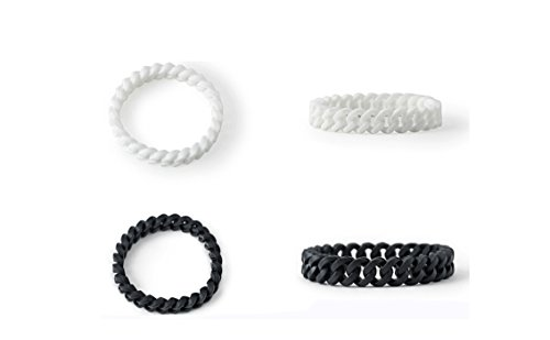 Silicone-Chain-Energy-Bracelets-Braided-Curb-Link-Shaped-Wristband-for-Men-Women-2-Pack-of-Black-and-White