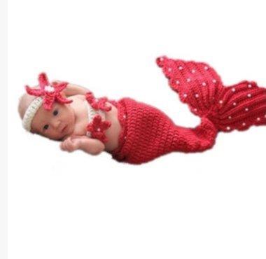Handgefertigte Baby-Mütze Neugeborenes Baby, Kleinkind Beanie Crochet Knitting Props Cartoon nette rote Meerjungfrau Kostüm Set Fotografie 0-5 Monate