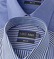 2 Pack Slim Fit Easycare Plain and Striped Shirts
