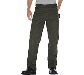 Dickies 36in. X 34in. Rinsed Green Moss Relaxed Fit Sanded Duck Carpenter Jeans DU3