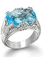 gemstone ring sky blur topaz sterling silver 18k gold size ,8