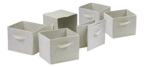 Winsome Capri Set of 6 Foldable Fabric Baskets, Beige