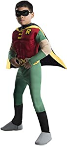 Rubies DC Comics Teen Titans Deluxe Muscle Chest Robin Costume, Medium