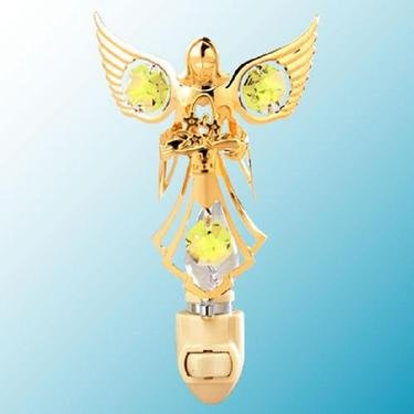 24k Gold Angel with Flowers Night Light - Yellow Swarovski Crystal - 1