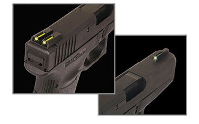 Truglo Tfo Handgun Sight Set - Glock Low - Ylw Rs, Green/Yellow
