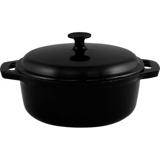 Cast Iron Cookware to Tableware Round Casserole Stew Pot (and lid) (Black) - 7.75Ltr 37 x 29.5 x 20cm - Offers attractive presentation from the oven to the table