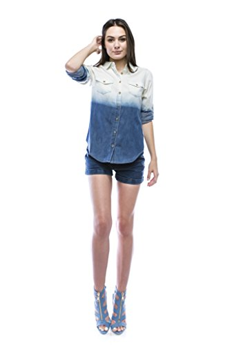 Women 39 s ombre chambray button down shirt large deep blue for Cuisine you chambray