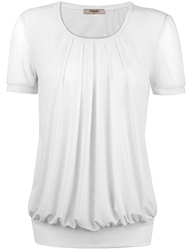Timeson Womens Flattering Short Sleeve Scoope Loose Fit Stentchy Soft Top X-Large White