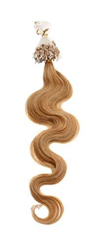 Xiaonibang Remy Human Hair Extensions Easy Loop Micro Rings Bead Tip Wavy Hair (27 Dark Blonde)