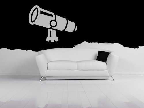 Telescope Planets And Space Wall Stickers Wall Art Decal 01 - Vinyl Sticker Wall Art Deco Decal - 50Cm Height,50Cm Width - Black Vinyl