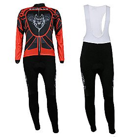 Winter Long-Sleeve Fleece Cycling Suits with BIB Shorts (Red Flying