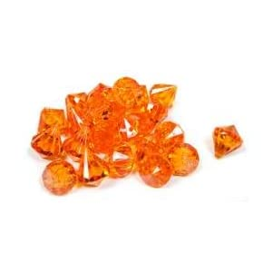 wedding reception decoration ideas, orange acrylic diamond confetti