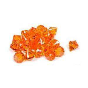 wedding reception decoration ideas, orange acrylic diamond confetti