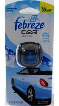 Febreze 2 amL (0.06 FL OZ) Car Vent Clips Air Freshener and Odor Eliminator, Linen and Sky Scent - 8 Pieces (Clip Air Freshener compare prices)
