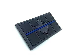 Noir Canada Canadien Thin Blue Line Drapeau Airsoft Velcro PVC Patch