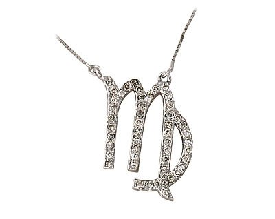 Diamond Virgo Zodiac Pendant 14K White Gold