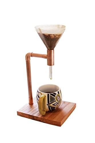Premium Designer Copper Pour Over Coffee Maker Handmade Wood Stand Complete With Glass Dripper - The Finest Homemade Pour-Over Coffee a Unique Individual Coffee Filter Coffee Drip