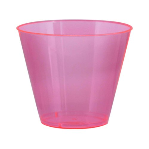 Party Essentials Hard Plastic 9-Ounce Party Cups and Old Fashioned Tumblers, Neon Pink, 25-Count