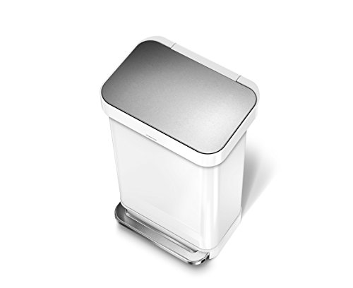 simplehuman Liner Rim Rectangular Step Trash Can with Liner Pocket, White Steel, 45 Liter / 11.9 Gallon (Trash Can With Lid White compare prices)
