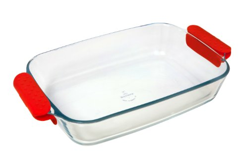 Marinex Prediletta Large Rectangular Glass Roaster with Red Silicone Handles, 3.7-Quart