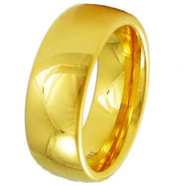 8MM High Polished Stainless Steel Gold Plated Wedding Band