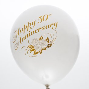 50th Anniversary 12 Inch Balloons 6CT white