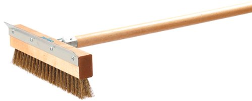 """Carlisle 4029300 Sparta Pizza Oven Brush With Aluminum Scraper, Crimped Brass Wire Bristles, 10"""" Length X 3-1/2"""" Width X 1-1/2"""" Height front-544706"""