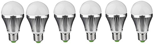 7W Aluminium Body LED Bulbs (White, Pack of 6)