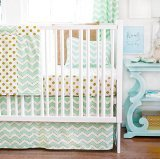 New Arrivals 3 Piece Crib Bed Set, Gold Rush in Mist
