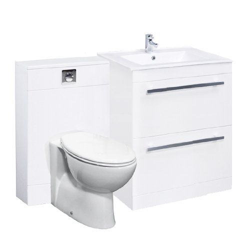 Turin 600mm White Floorstanding Drawer Vanity Unit, Back to Wall Toilet, Pan