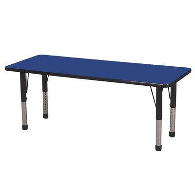 Ecr4kids 24 x 60 rectangular activity table standard legs w swivel glides blue top black - Table glides for legs ...