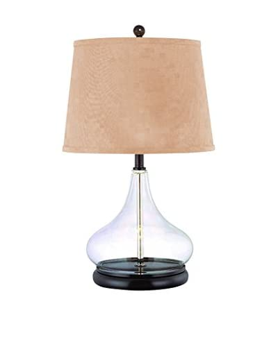 Lite Source Hendrick 1-Light Table Lamp, Black/Clear/Beige