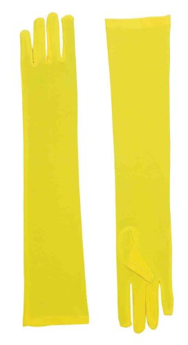 Long Yellow Adult Female Costume Nylon Dress Gloves