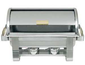 GOLD ACCENTED 8 QT ROLL TOP CHAFER CHAFING DISH
