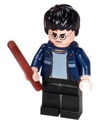 Harry Potter (Blue Jacket) with Wand - LEGO Harry Potter Minifigure - 1