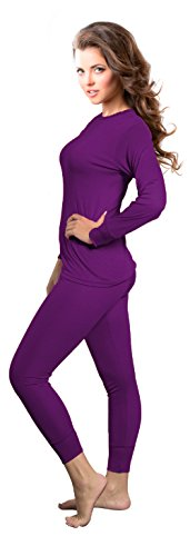 Rocky Womens Thermal 2 Pc Long John Underwear Set Top and Bottom Smooth Knit (Xlarge, Purple) (Insulation Underwear compare prices)