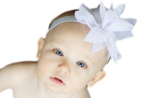 Baby Flower Headband for Infant, Baby, Toddler. Chiffon Flower. (White)