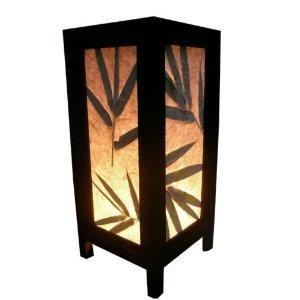 Thai Vintage Handmade Asian Oriental Classic Leaf Leaves Bamboo Tree Art Bedside Table Light Or