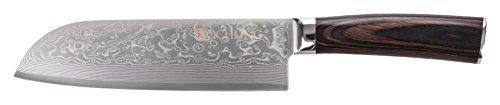 Kochling damast couteau avec manche en bois pakka-couteau santoku 67 dents 180 mm