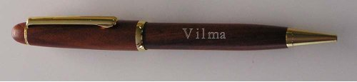 Engraved rosewood pen with name: Vilma