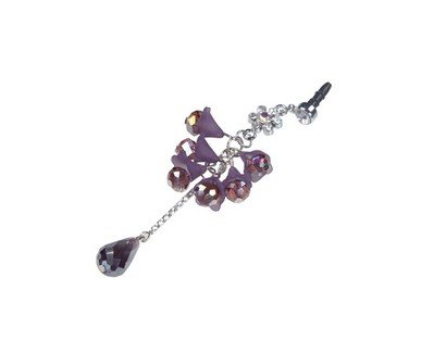 Plastic Diamante Purple Drops Dust Cap with Pendant for Cell Phone 3.5mm Jack