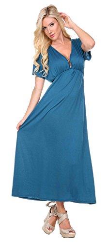 Stanzino Women's V neck Short Sleeve Elastic Waist Maxi Dress