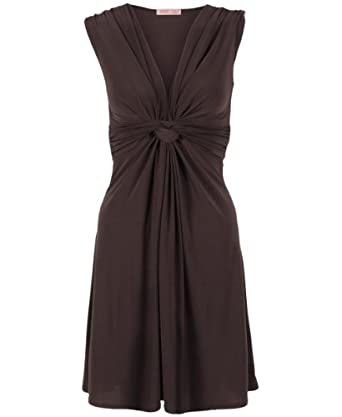 Ruched Drape Stretch Front Twist Knot Shift Mini Dress Tie Belted Party Work