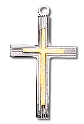 Sterling Silver Medium Fancy Two-Tone Cross with 24