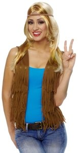 60s Hippie Fringe Vest (female) Adult Halloween Costume Accessory Size Medium/Large