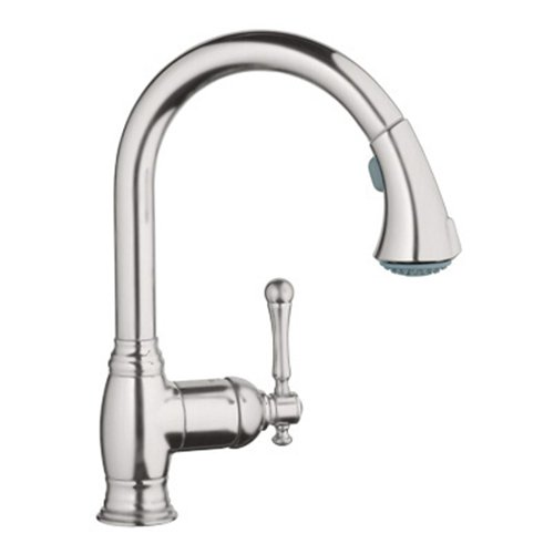 Grohe 33 870 ENE Bridgeford WaterCare Dual Spray Pull-Out Kitchen Faucet, Brushed Nickel