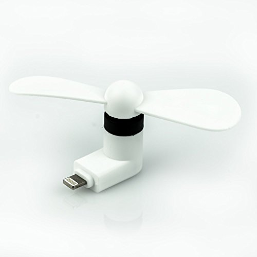 StyleTech Inc. Portable Cool Mini Rotating Fan for Apple Lighting Port Compatible with iPhone/iPods/iPad (1.) White)