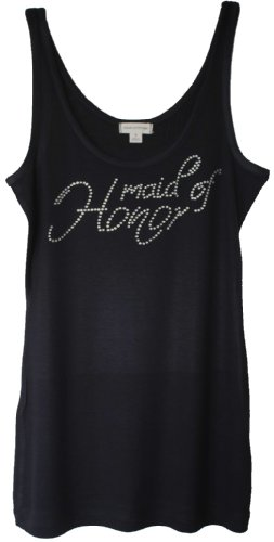 Bridal Party Rhinestone Tanks Sold Individually Bride Bridesmaid and Maid of Honor (Small, Maid of Honor &#8211; Black)