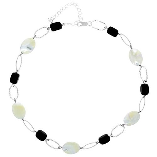 Stonique Creations Sterling Silver Mother of Pearl and Onyx Link Necklace