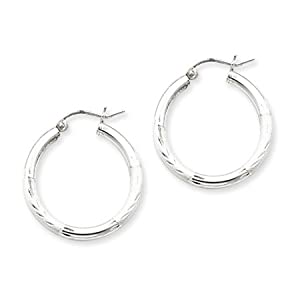 2.5mm, Satin, Diamond-cut Silver Hoops - 25mm (1